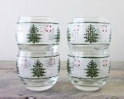 Culver Christmas Crossstich Roly Poly Glass Sets