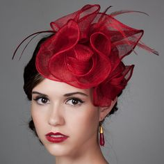 """Sculpted Sinamay Fascinator in Poppy Red """"Anastasia"""". Sinamay Hats, Fascinator Hats, Fascinators, Headpieces, Red Hat Society, Hat Crafts, Cocktail Hat, Church Hats, Fancy Hats"""