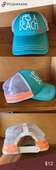 Roxy Life's A Beach Ball Cap Roxy brand, Life's a Beach, ball cap. Teal, white & bright peach colors. Adjustable snap back closure. In great condition. Non smoking home, no trades. Roxy Accessories Hats