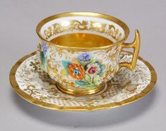 A Russian Imperial Porcelain Manufactory cup and saucer   Circa - 1825 - 1855