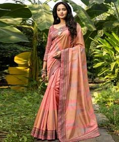 Chanderi Silk Peach Color Saree, Pink Saree, Peach Colors, Chanderi Silk Saree, Art Silk Sarees, Fancy Sarees, Party Wear Sarees, Latest Sarees Online, Shades Of Peach