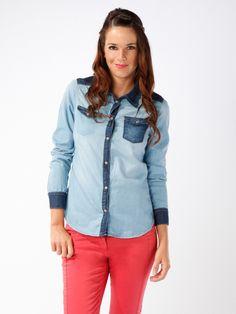 Chemisier en jean bicolore femme