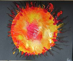Squished paint Sun - Painting, especially finger painting is DAP. This is a clean way to finger paint with children.