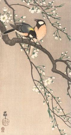 "Japanese Art Print ""Chickadees on Cherry Branch"" by Ohara Koson, woodblock print reproduction, fine Japanese Bird, Japanese Prints, Vintage Japanese, Japanese Paper, Japanese Painting, Chinese Painting, Chinese Art, Ohara Koson, Art Chinois"