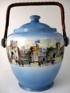 Edwardian Biscuit Jar Barrel Castle Street Scene Blue New Hall Antique