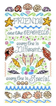 Friends are like Seashells cross stitch pattern.