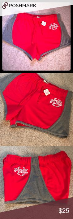 Victoria's Secret PINK SHORTS Victoria secret PINK SHORTS WITH ADJUSTABLE WAIST SIZE SMALL BRAND NEW WITH TAGS COLOR IS RED WITH GRAY AND WHITE LETTERING PINK Victoria's Secret Shorts
