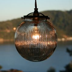Ribbed Glass Globe Pendant Light  Steampunk  by SanctumLighting