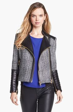 Vince Camuto Tweed & Faux Leather Moto Jacket