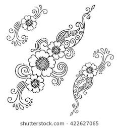 Find Set of Mehndi flower pattern for Henna drawing and tattoo. Decoration in ethnic oriental, Indian style. Stock Images in HD and millions of other royalty-free stock photos, illustrations, and vectors in the Shutterstock collection. Henna Tattoos, Mehndi Tattoo, Mehndi Art, Henna Tattoo Designs, Henna Art, Flower Tattoos, Henna Mehndi, Henna Designs Drawing, Henna Patterns