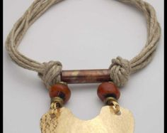 DEVI - Handforged Bronze & Copper Pendant - Moroccan Amber - Natural Hemp 8 Strand Necklace