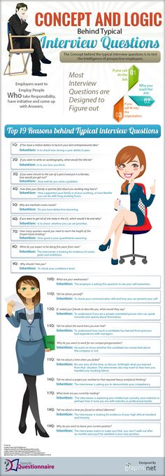 The Logic Behind 19 Common Interview Questions What is the Logic Behind The Most Popular Interview Questions? [INFOGRAPHIC] – CareerAdvisorDaily The Logic Behind 19 Common Interview Questions Typical Interview Questions, Interview Skills, Job Interview Tips, Job Interviews, Interview Questions For Employers, Interview Weakness Answers, Preparing For An Interview, Greatest Weakness Interview, Informational Interview Questions