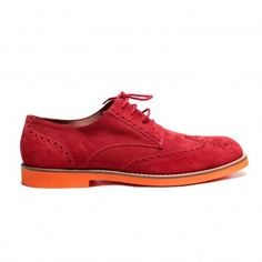 Men's Red Suede Wingtip with Red Laces. Orange Micro Featherweight Sole. Leather Lining. Handmade in Italy.