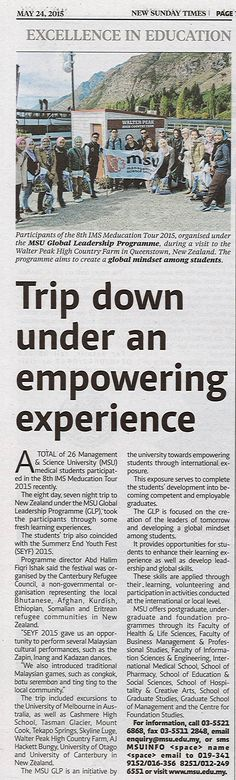 Trip down under an empowering experience - MSU Global Leadership Programme