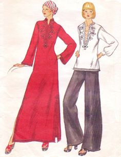 1970s Vogue Sewing Pattern 9066 Womens Boho Caftan or Tunic Size 10 Bust 32 1/2 Pullover Caftan