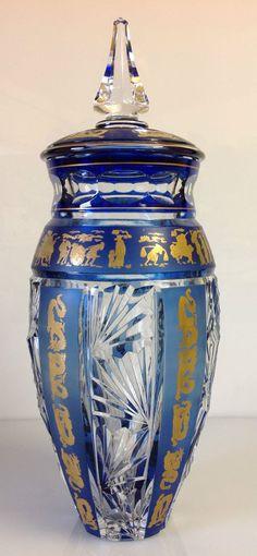Val Saint Lambert , Vase 'Fuji Yma',  décors Chinois 1972 - Hubert Lega.
