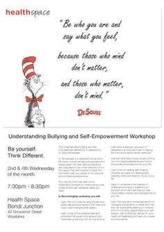 Understanding Bullying workshop now at Health Space in Bondi Junction. Starting today, 12th November from 7:30pm and then every other week.
