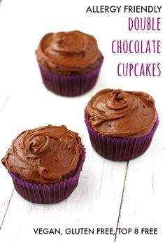 Rich and delicious vegan gluten free double chocolate cupcakes. So decadent, and free of the top 8 allergens! These are perfect for any celebration. Vegan Cupcake Recipes, Vegan Cupcakes, Coconut Recipes, Vegan Cake, Delicious Vegan Recipes, Chocolate Cupcakes, Cookies Vegan, Vegan Desserts, Dairy Free Treats