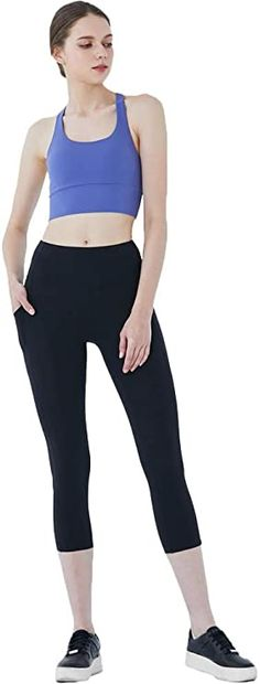 Amazon.com: mulawear Women Tummy Control Yoga Capris Pants High Rise Workout Leggings for Running Cycling with Side Pockets | BLUL-10 Blue Light: Clothing Surfer Girl Outfits, Teenage Girl Outfits, Girls Fashion Clothes, Girls Summer Outfits, Cute Girl Outfits, Outfits For Teens, Cool Outfits, Cute Sneakers For Women, Women's Wardrobe Essentials