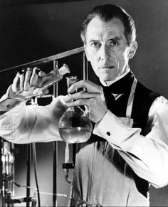 "Peter Cushing as Dr. Frankenstein in the Hammer Horror films production. A nice alternative to the typical ""labcoat mad scientist"""