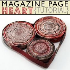 Create a cute paper heart from recycled magazines by Saved by Love Creations @totgreencrafts