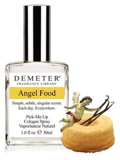 Angel Food - Angel FoodThe critical ingredients reflected in Demeter's Angel Food are egg whites, sugar, vanilla and coconut. Reviews reflect something sweet, light, definitely cake-like, coconutty, doesn't last long on skin hence spray on clothes better.