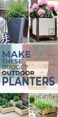 Budget Outdoor Planter Projects Yes, you CAN make these wonderful DIY outdoor planters! Check out th Diy Planters Outdoor, Patio Diy, Garden Planters, Outdoor Gardens, Outdoor Decor, Outdoor Living, Planters For Front Porch, Summer Front Porches, Diy Outdoor Furniture