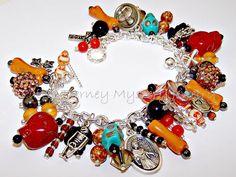 SKULLS and BONES Day of the Dead Artisanal Charm Bracelet
