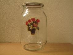 vintage large glass jar container with a red by LisasVintageFun