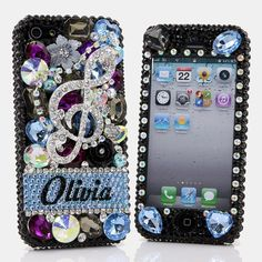 Style # PN_1062  Bling Cases, Personalized Name Custom Made crystals Flower Leaf design case for iphone 5, iphone 5s, iphone 6, Samsung Galaxy S4, S5, Note 2, Note 3, LG, HTC, Sony – LuxAddiction.com