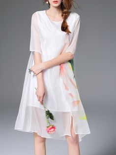 White Half Sleeve Asymmetric #Midi #Dress