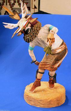"""HUGE 20"""" ROS GEORGE Hopi Cottonwood root Deer Kachina ,published Master Carver"""