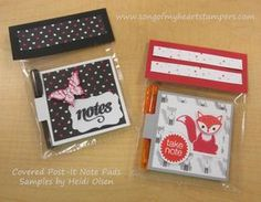 Covered Post It Note Pads with Pens Little Foxy Stampin Up cello craft fair