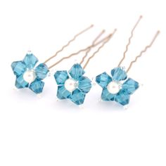 Something Blue Wedding Hair Pins. Blue Flower Hair Pins. Swarovski Crystal - Indicolite. by PinkTreeStudios on Etsy https://www.etsy.com/uk/listing/94578836/something-blue-wedding-hair-pins-blue