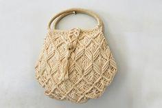 vintage 70s Off White Macrame Handbag with by littleveggievintage