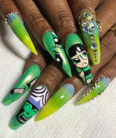 Top Nails Design My Second Favorite Perfect Nails, Gorgeous Nails, Pretty Nails, Dope Nails, Swag Nails, Girls Nails, Powerpuff Girls, Best Acrylic Nails, Green Nails