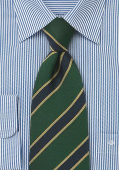 British Tie in Dark Green - Recharge your suits and blazers with this sensationally handsome British tie with regimental stripes in dark green, navy blue and gold. This luxury edition tie has been des Dress Shirt And Tie, Kids Ties, Gold Tie, Cute Love Images, Elegant Man, Green Tie, Stripes, Suits, Hunter Green