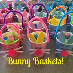 Loving these Bunny Baskets we made! So easy and cute! Check out my blog post for directions! Easter Crafts For Kids, Easter Baskets Craft, Easter Activities For Preschool, Easter Ideas, Easter Art, Easter Projects, Valentines Crafts For Kindergarten, Basket Crafts, Small Woodworking Projects