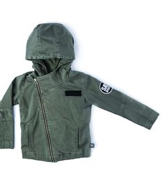 hooded biker jacket in dyed olive Kids Fashion, Fashion Outfits, Cocoa, Hoods, Biker, Kids Outfits, Baby, Jackets, Clothes
