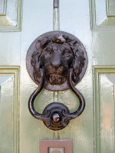 Lion door knocker, Stamford, England
