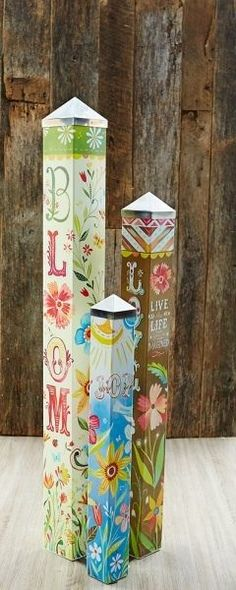 Life is Beautiful Art Pole Garden Set of 3 Peace Poles Katie Daisy love grow NIB