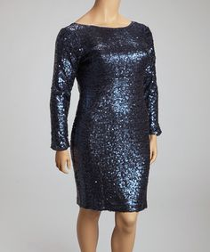 Take a look at this Black Sequin Boat Neck Shift Dress - Women & Plus by Jessica Simpson Collection on #zulily today!