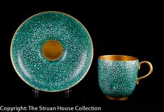 Royal Worcester demitasse and saucer shagreen finish with gilded interior 1930 - The Struan House Collection
