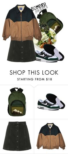 """Без названия #315"" by haomind ❤ liked on Polyvore featuring NIKE, Topshop, Muji and bomberjackets"