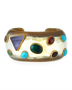 Macho+Multi-Stone+Cuff,+Light+Horn+by+Ashley+Pittman+at+Neiman+Marcus+Last+Call.