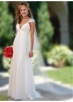 Elegant Exquisite Chiffon V-Neck And Cap Sleeve Wedding Dress