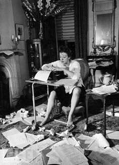 Gypsy Rose Lee at work writing. She authored a memoir as well as 2 novels and a play.