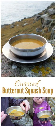 Curried Butternut Squash Soup - A delicious blend of warming spices and creamy butternut squash. A perfect soup to pour into a flask and take on a winter hill walk. Chowder Soup, Chowder Recipes, Soup Recipes, Snack Recipes, Cooking Recipes, Healthy Recipes, Delicious Recipes, Curried Butternut Squash Soup, Homemade Soup