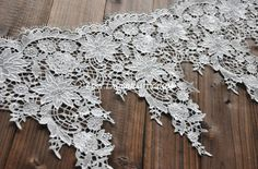 Gorgeous White Venice lace Floral Embroidery Teardrop Tassel Lace Trim 11.41 Inches Wide 1 Yard
