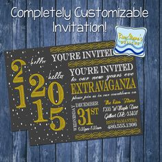 Printable New Years Party Invitation / Chalkboard with Gold and Confetti